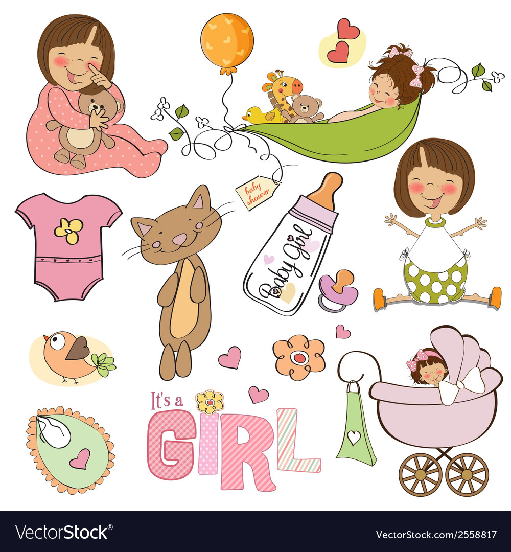 New baby girl elements set isolated on white vector | Price: 1 Credit (USD $1)