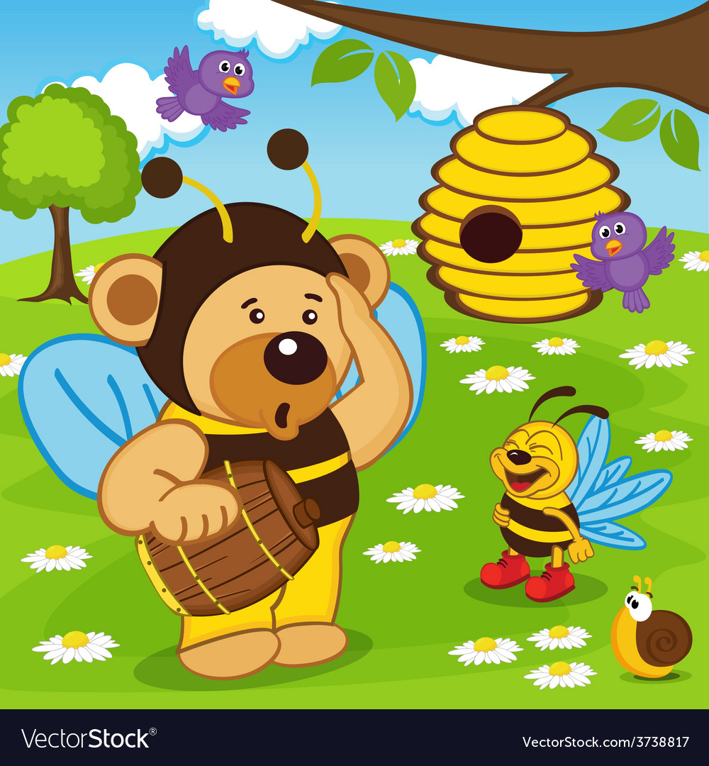 Teddy bear dressed as bee goes for honey vector | Price: 3 Credit (USD $3)