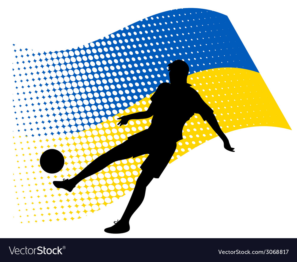 Ukraine soccer player against national flag vector | Price: 1 Credit (USD $1)