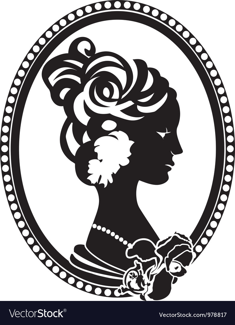Vignette female profile vector | Price: 1 Credit (USD $1)
