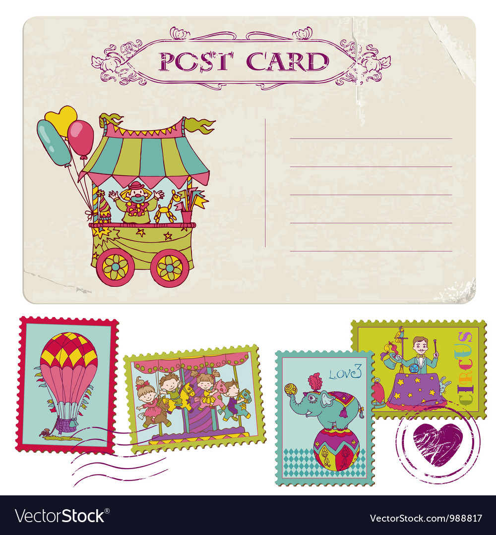 Vintage party postcard and circus postage stamps vector | Price: 3 Credit (USD $3)