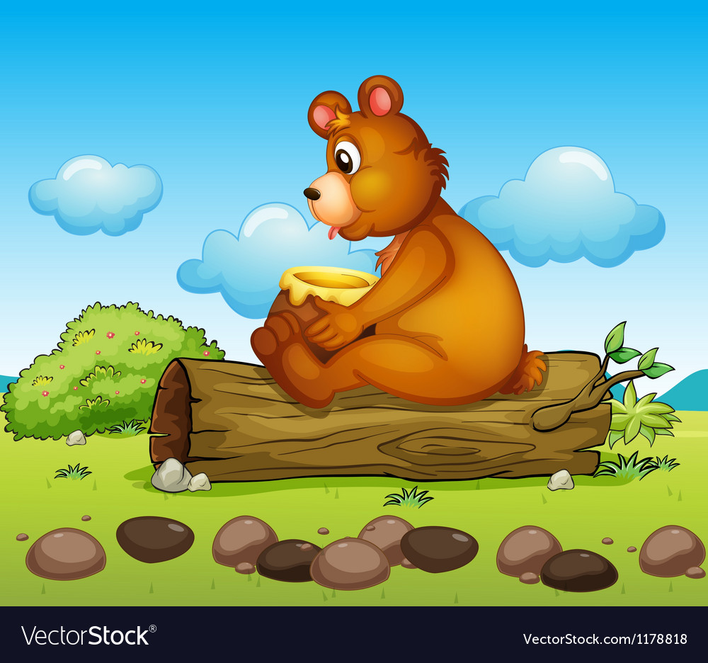 A bear sitting down on the trunk of a tree vector | Price: 1 Credit (USD $1)