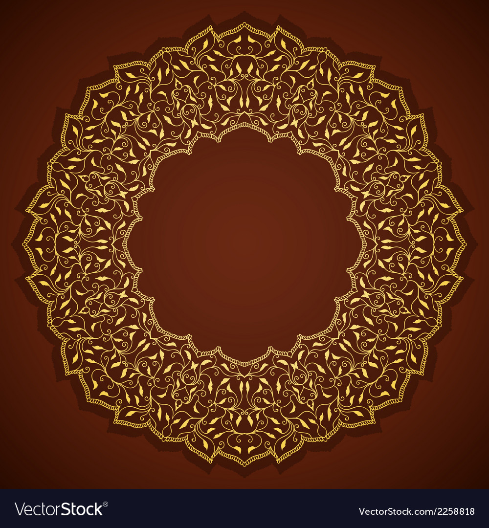 Lace gold round ornament with leaves vector | Price: 1 Credit (USD $1)