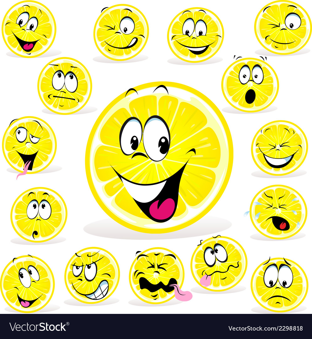 Lemon cartoon with many expressions vector | Price: 1 Credit (USD $1)