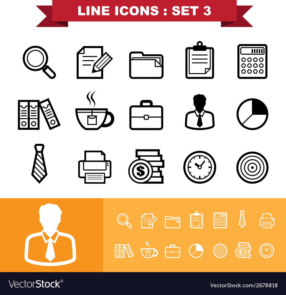 Line icons set 3 vector | Price: 1 Credit (USD $1)