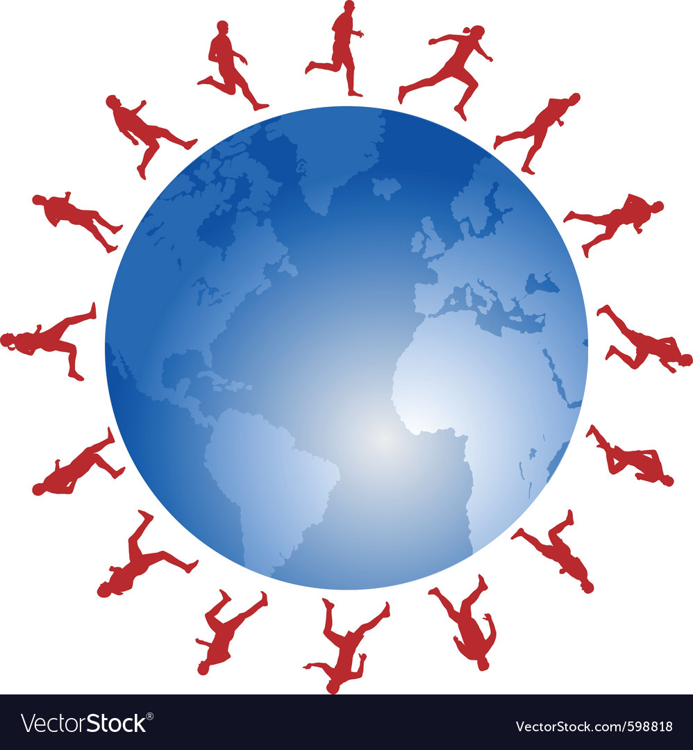 Red runners around the world vector | Price: 1 Credit (USD $1)