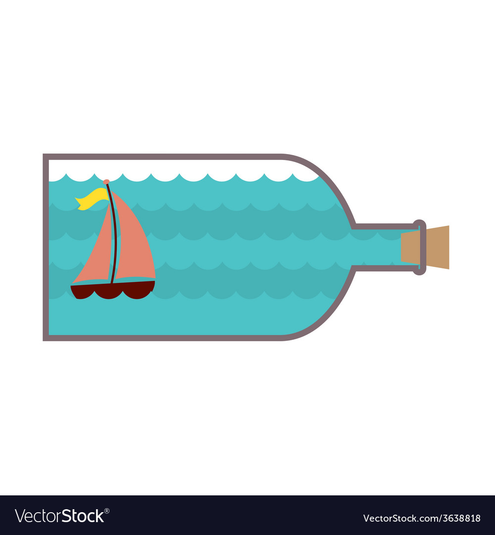 Sailboat in a glass bottle vector | Price: 1 Credit (USD $1)