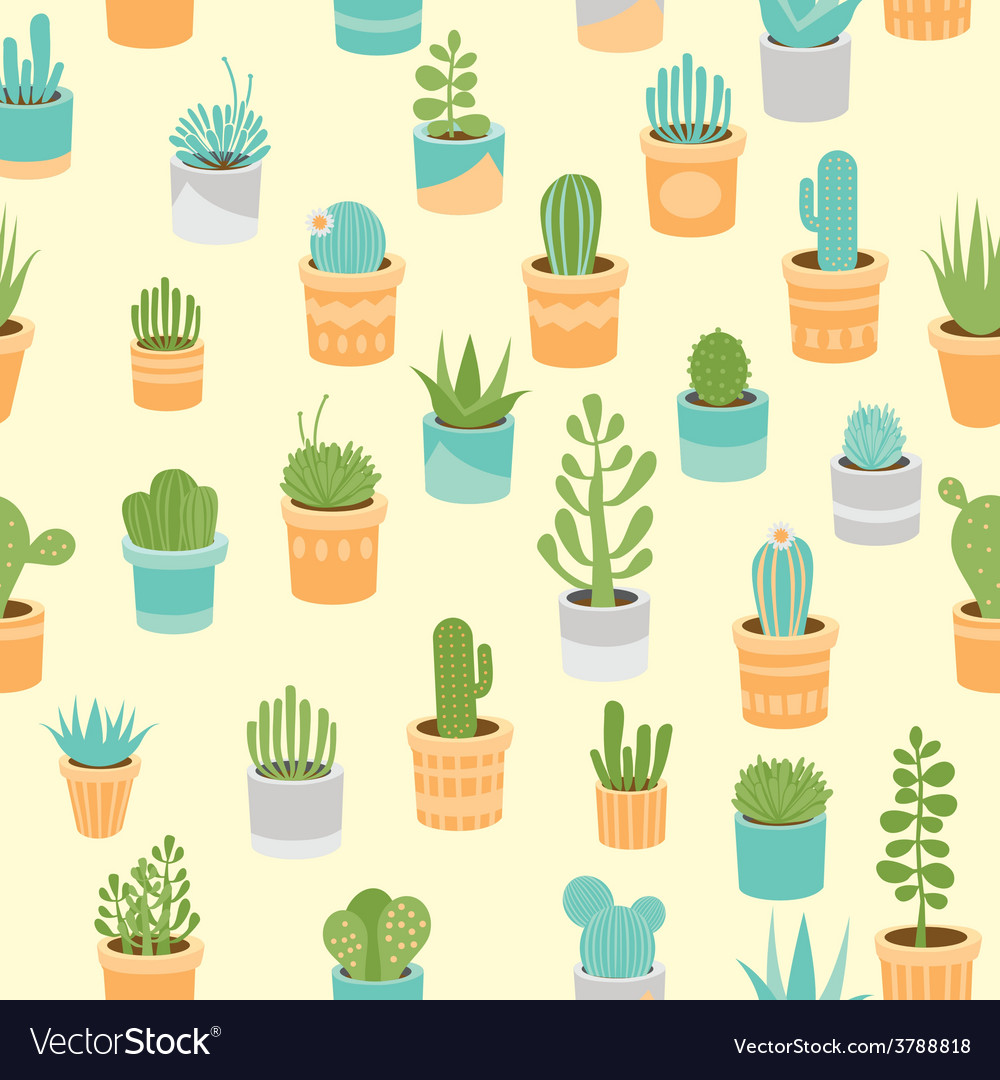 Succulent mix pattern vector | Price: 1 Credit (USD $1)