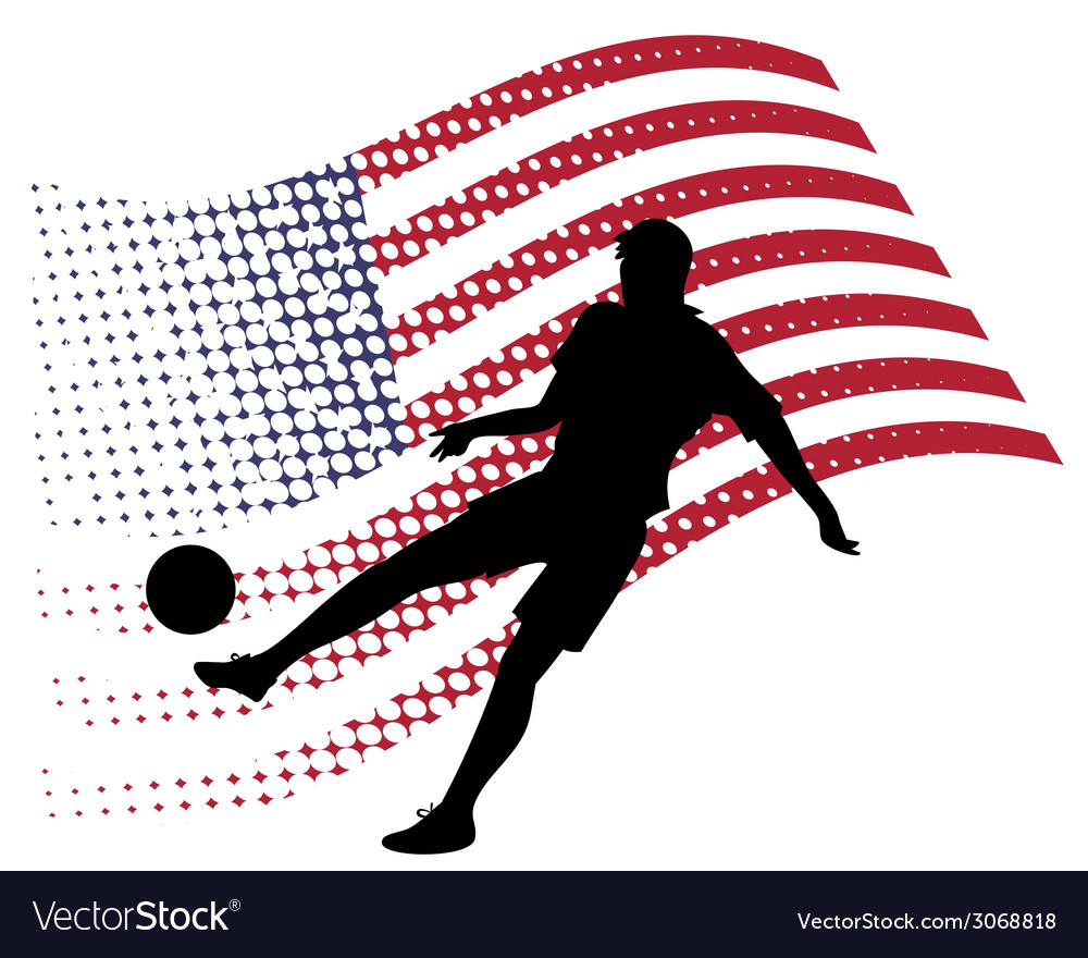 United states soccer player against national flag vector | Price: 1 Credit (USD $1)