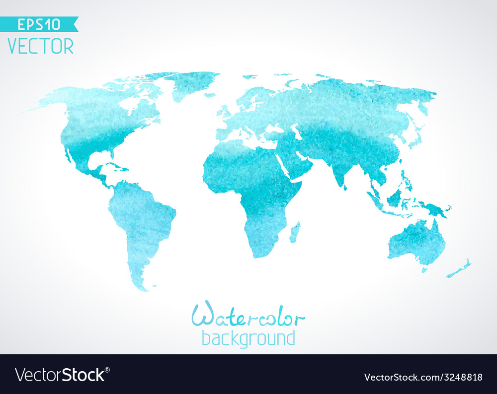 World watercolour map isolated on light background vector | Price: 1 Credit (USD $1)