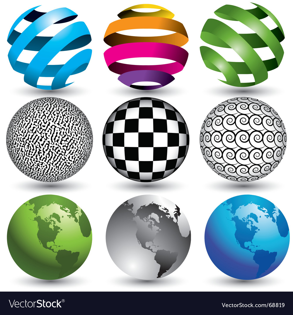 9 globes in editable format vector | Price: 1 Credit (USD $1)
