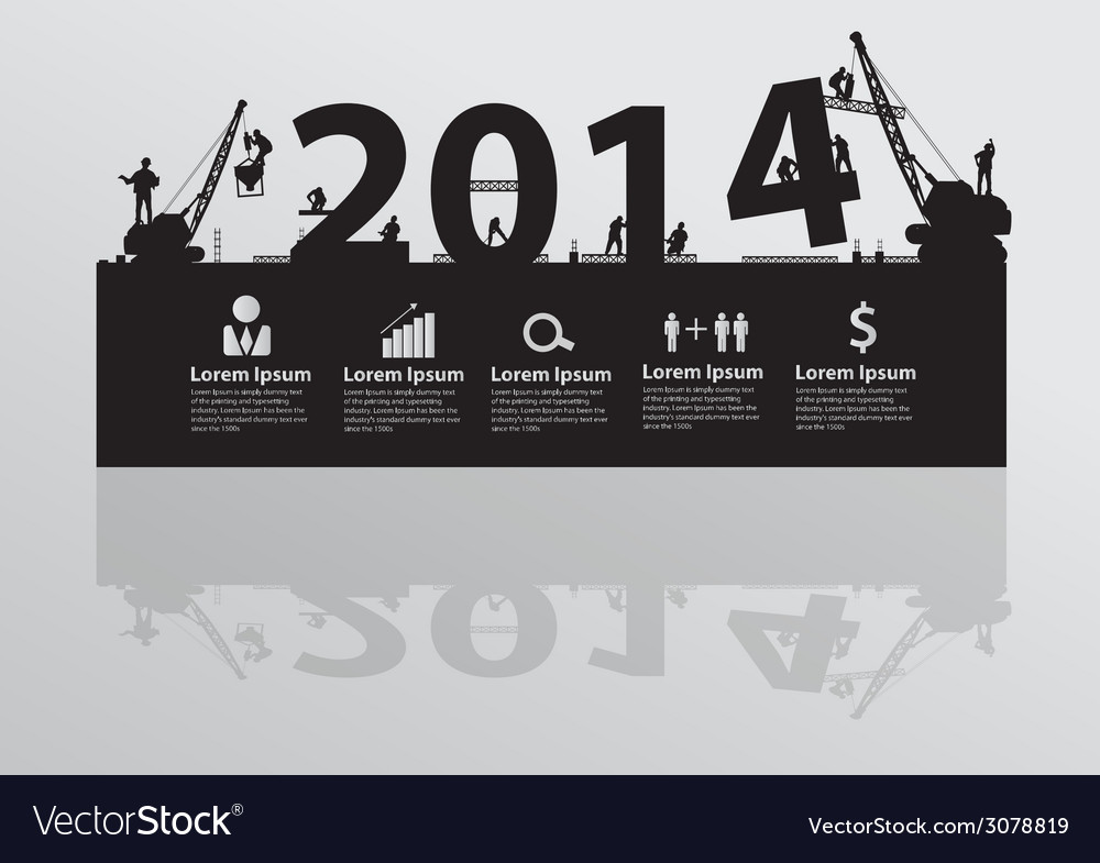 Construction site crane building 2014 text vector | Price: 1 Credit (USD $1)