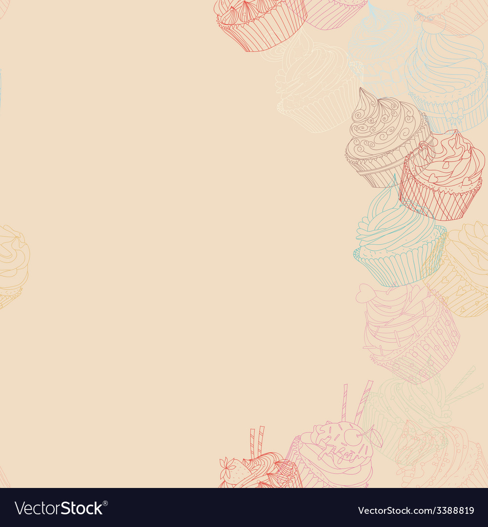 Cupcake border pattern vector | Price: 1 Credit (USD $1)