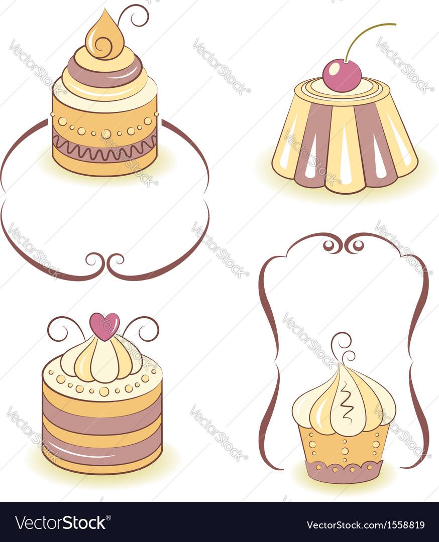 Cute cupcakes set vector | Price: 1 Credit (USD $1)