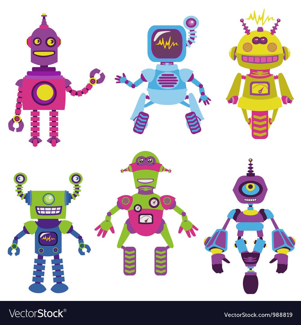 Cute little robots collection vector | Price: 3 Credit (USD $3)