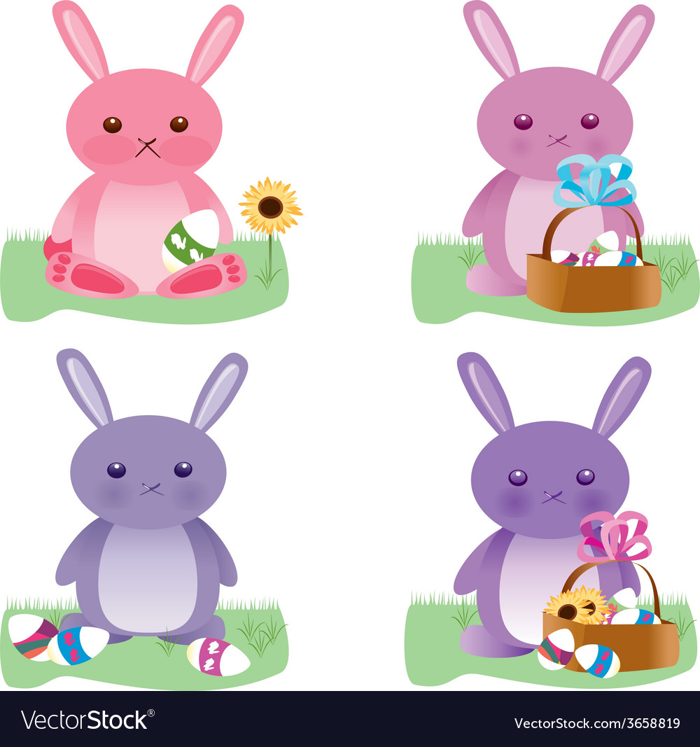 Easter bunnies set vector | Price: 1 Credit (USD $1)