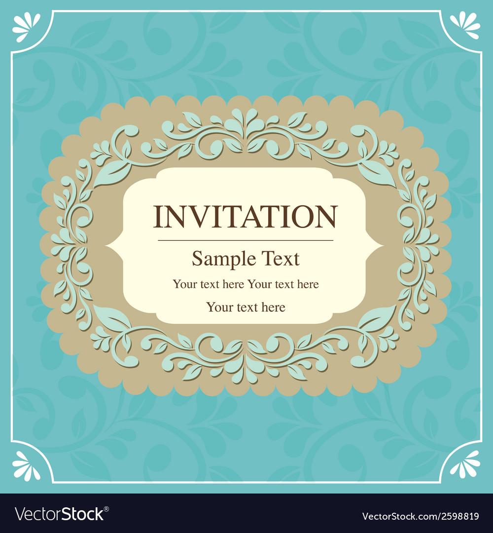 Invitation card vintage style vector | Price: 1 Credit (USD $1)