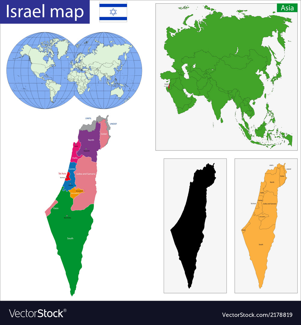 Israel map vector | Price: 1 Credit (USD $1)