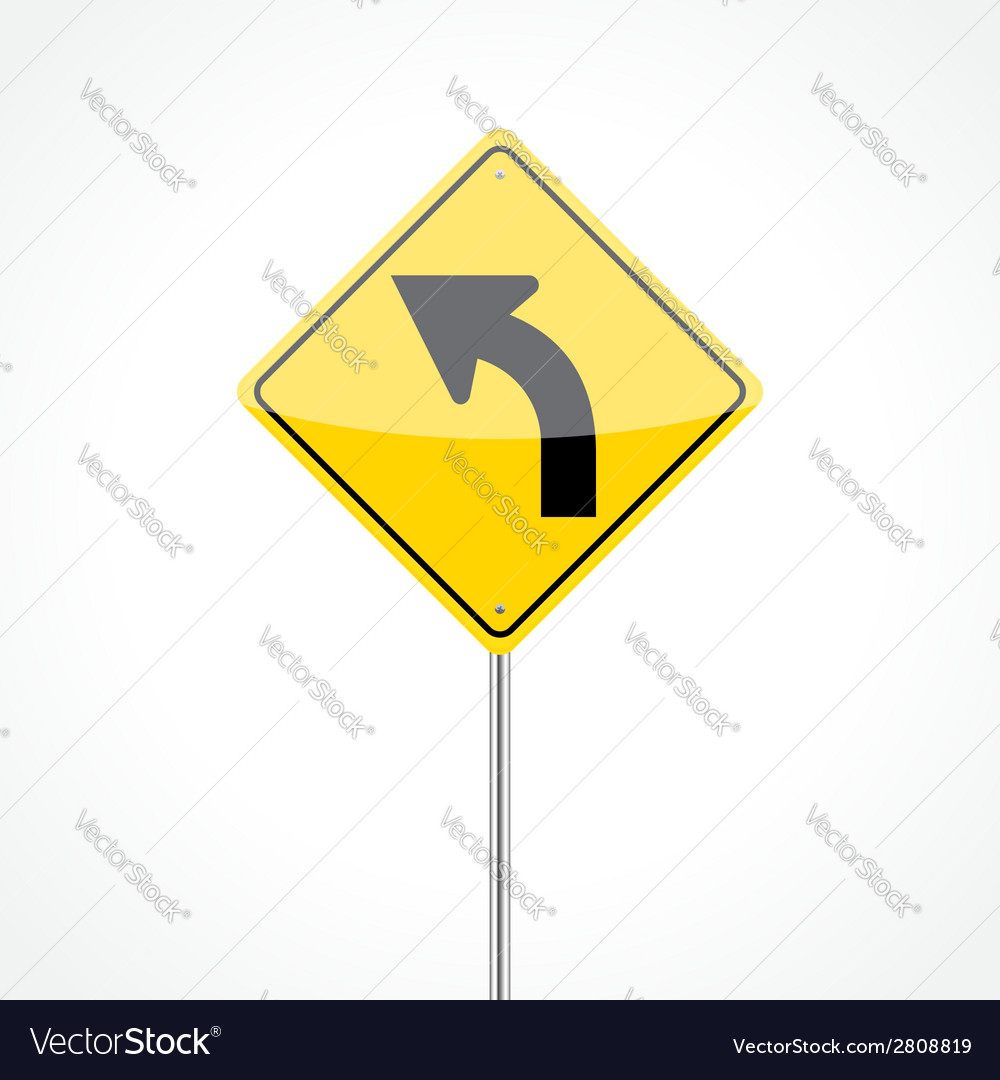 Left curve sign vector | Price: 1 Credit (USD $1)