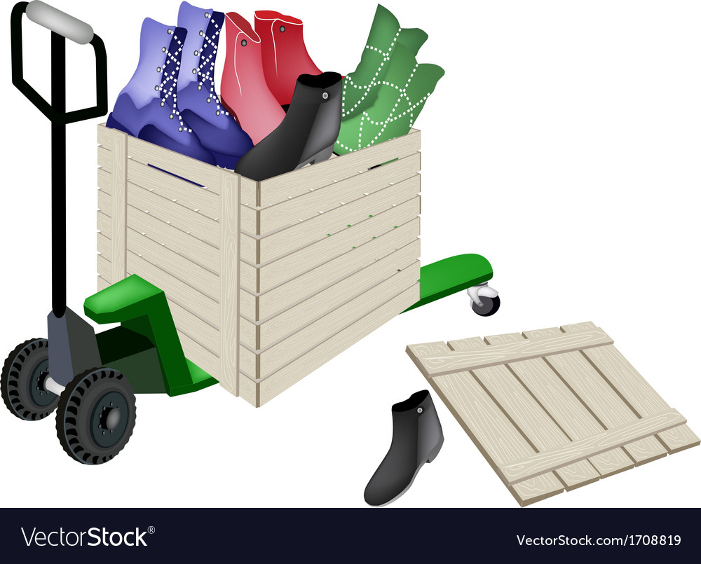 Pallet truck loading women shoes in shipping box vector | Price: 1 Credit (USD $1)