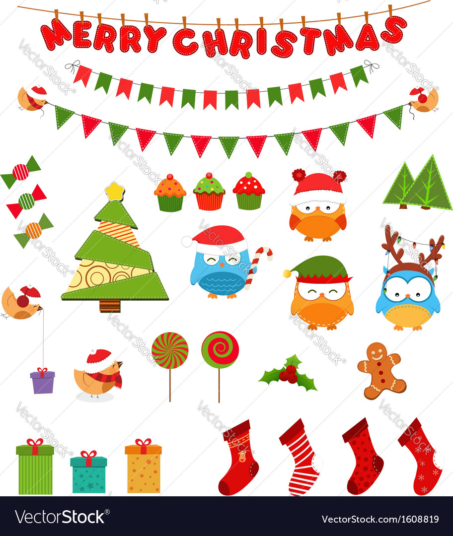 Retro christmas design elements vector | Price: 1 Credit (USD $1)
