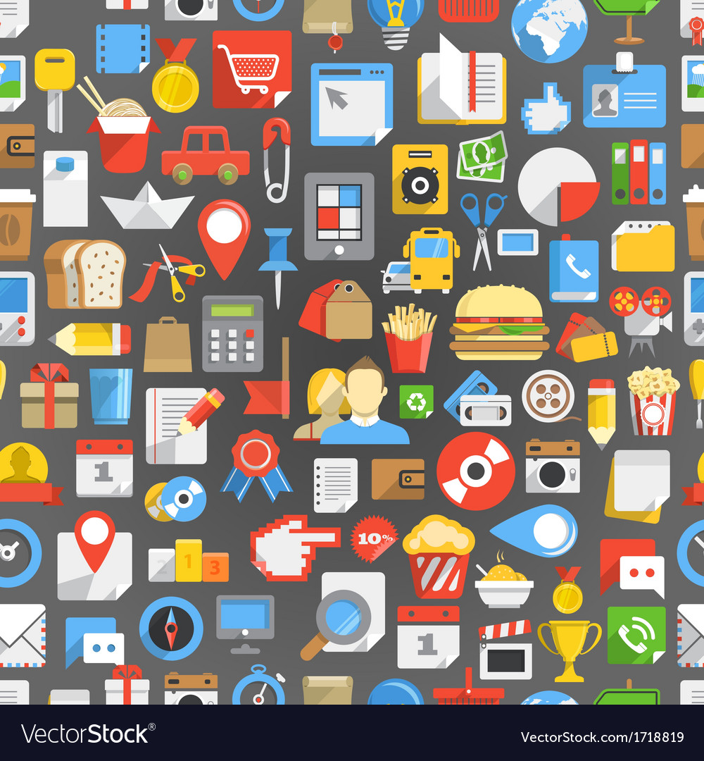 Seamless background of many interface icons vector | Price: 1 Credit (USD $1)