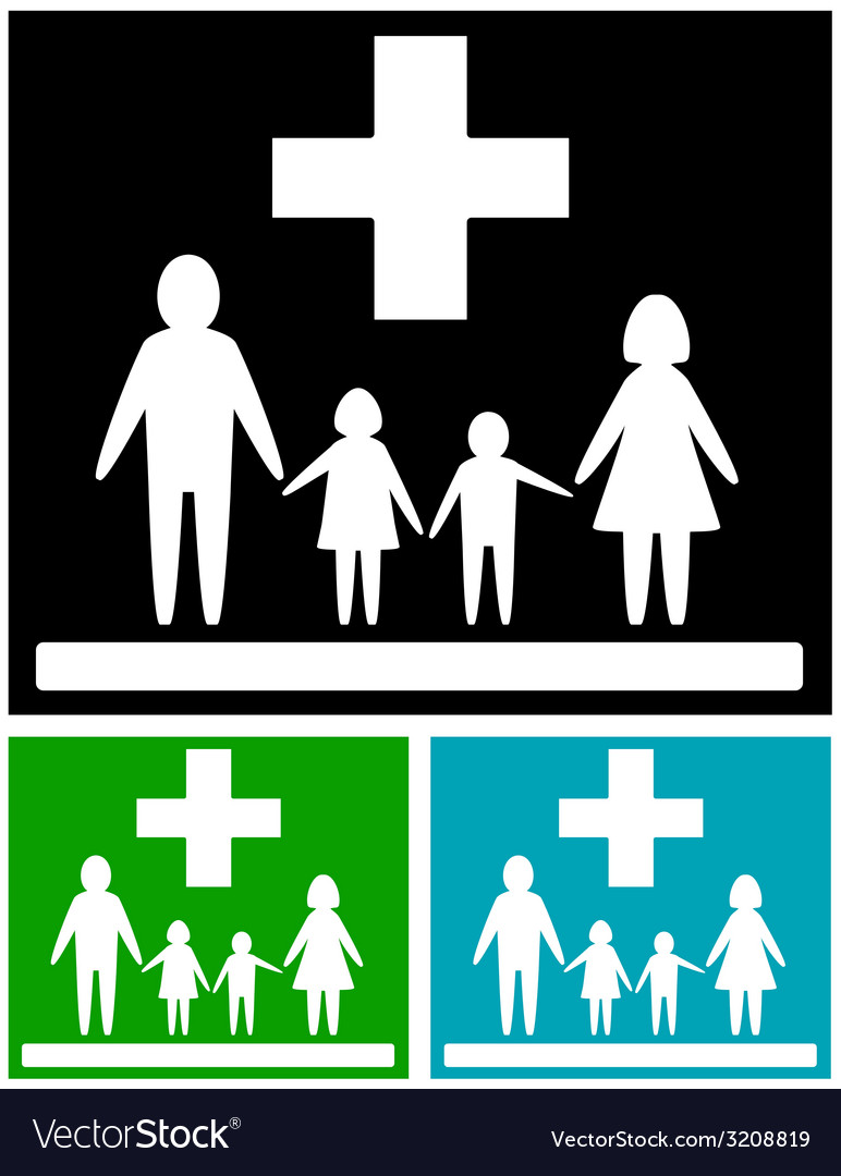 Set family medical icons vector   Price: 1 Credit (USD $1)