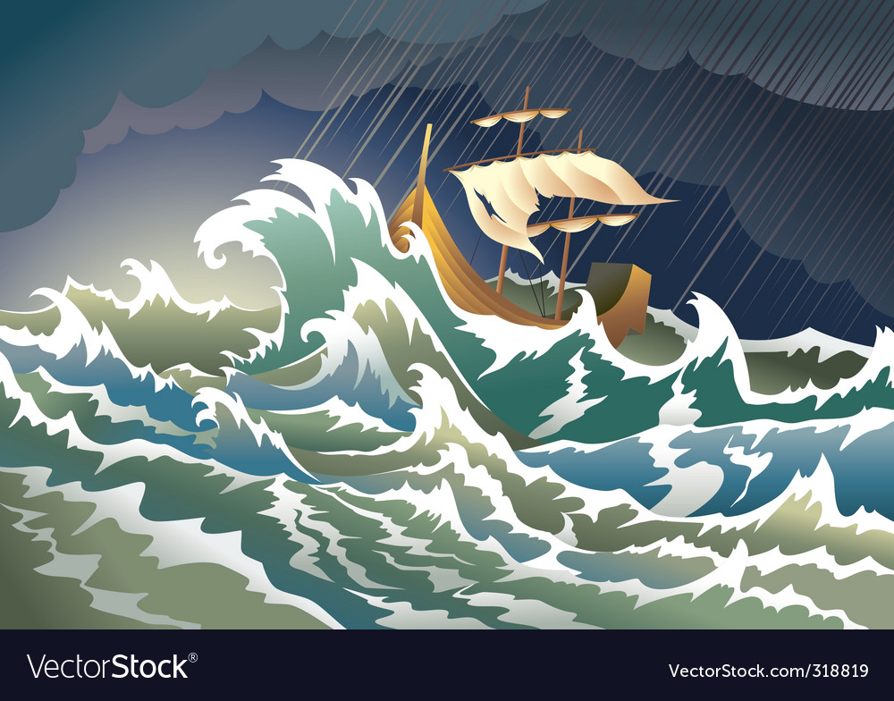 Ship sinking in the storm vector | Price: 3 Credit (USD $3)