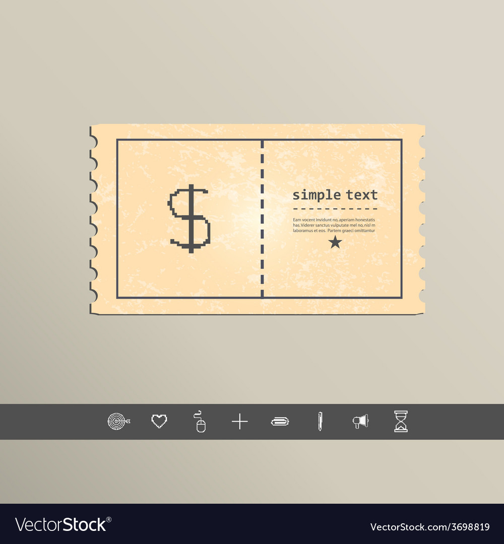 Simple style pixel icon dollar sign design vector | Price: 1 Credit (USD $1)