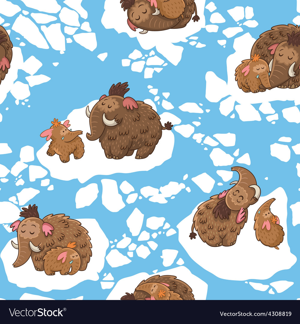 Stylish childish seamless pattern with mammoths in vector | Price: 1 Credit (USD $1)