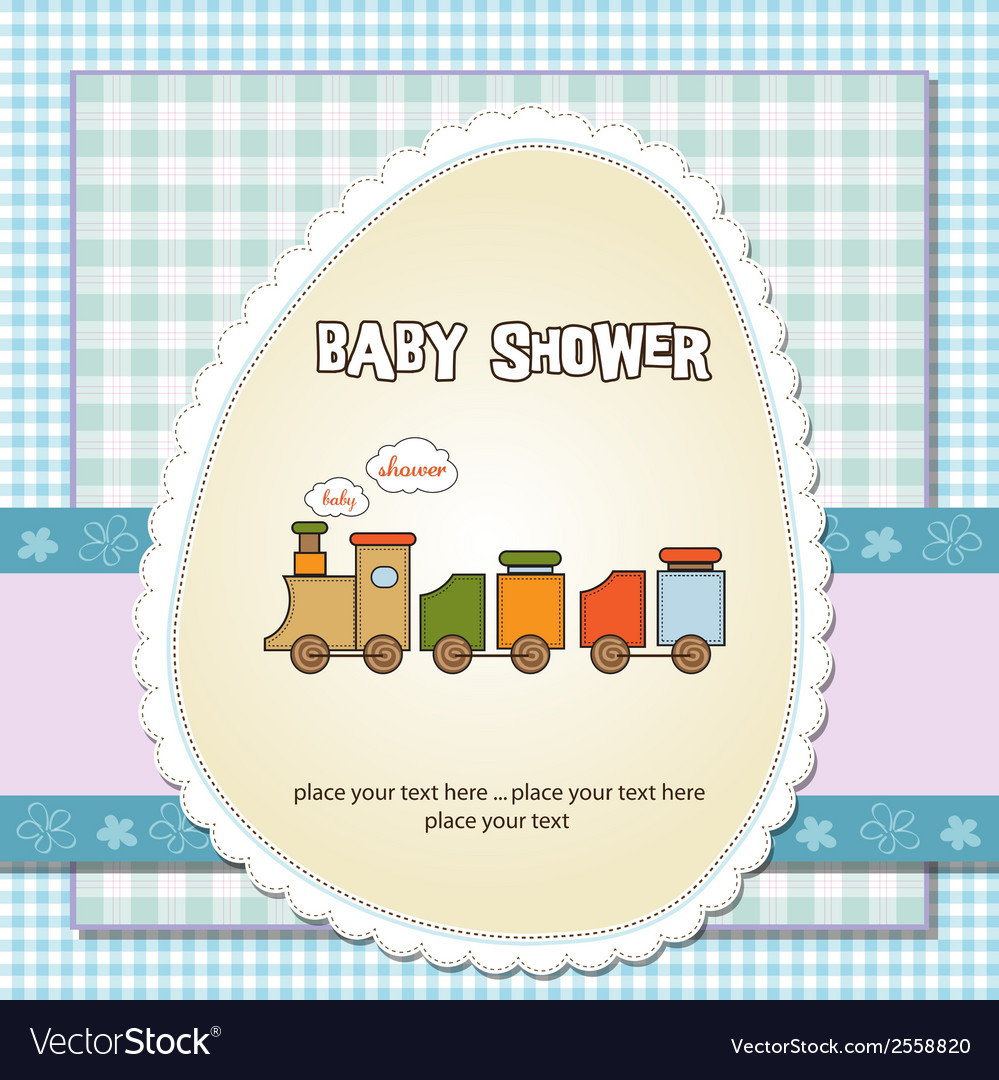 Baby shower card with toy train vector | Price: 1 Credit (USD $1)