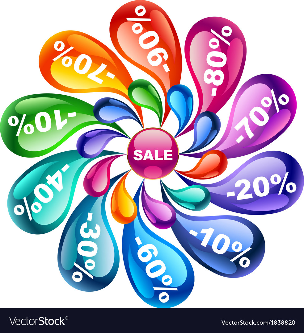Colorful flower of sale vector | Price: 1 Credit (USD $1)