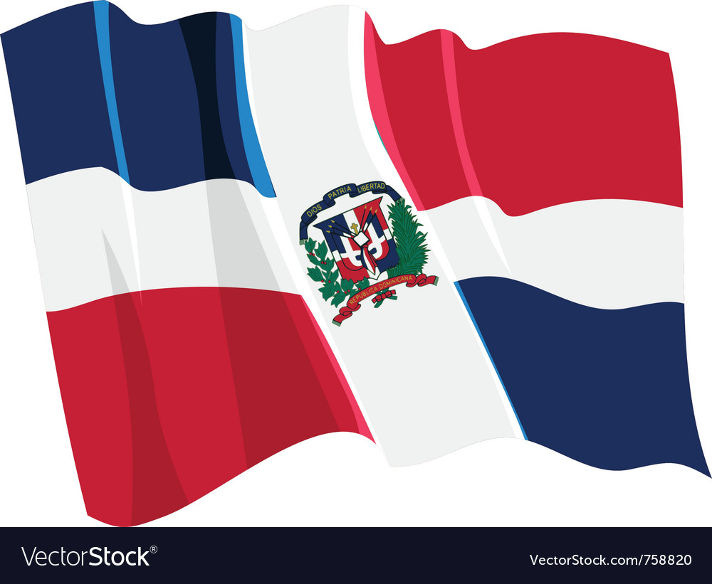 Political waving flag of dominican republic vector | Price: 1 Credit (USD $1)
