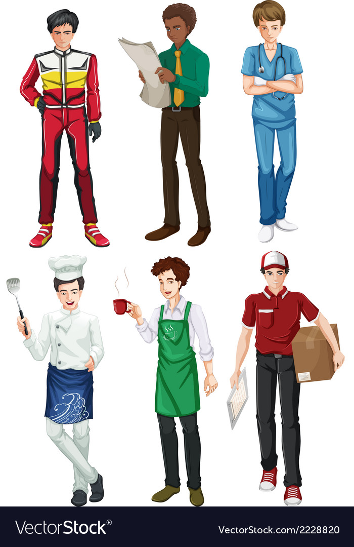 Six employed men vector | Price: 1 Credit (USD $1)