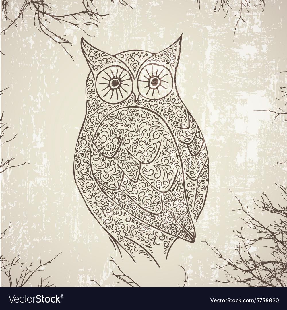 Vintage owl vector | Price: 1 Credit (USD $1)