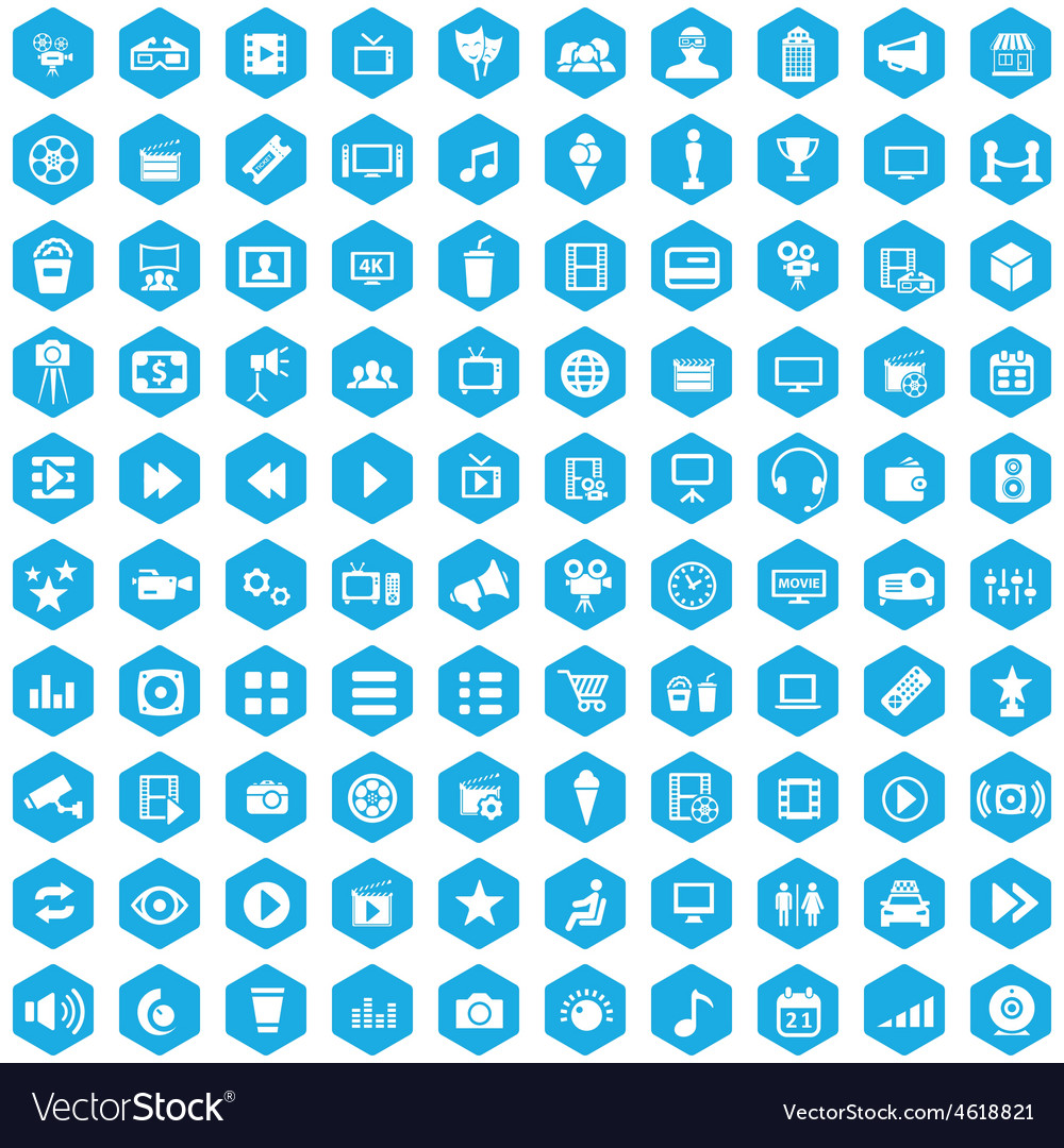 100 cinema icons vector   Price: 1 Credit (USD $1)