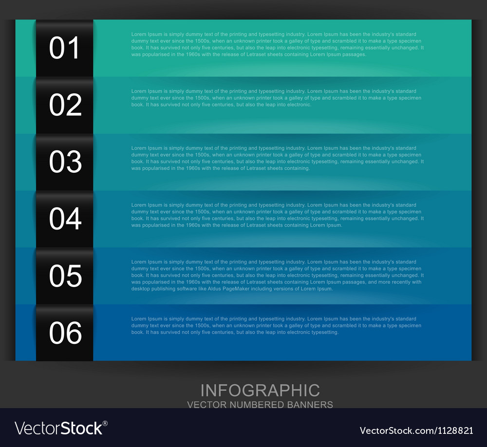 Cool color numbered banners vector | Price: 1 Credit (USD $1)