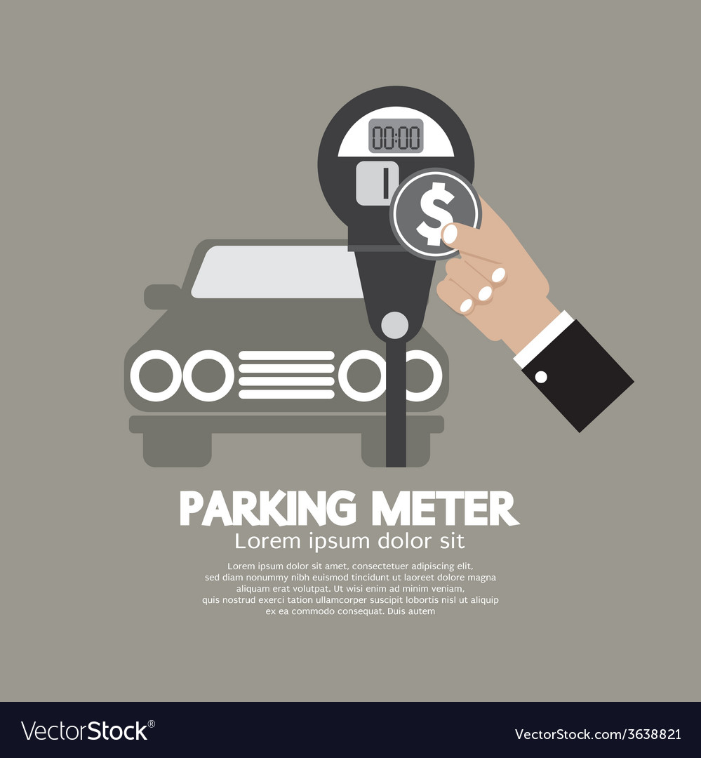 Hand insert coin into parking meter vector | Price: 1 Credit (USD $1)