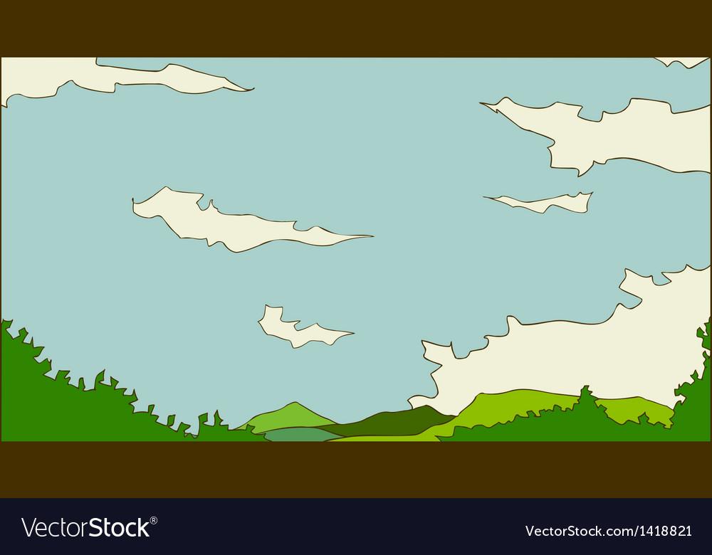Idyllic landscape scene vector | Price: 1 Credit (USD $1)