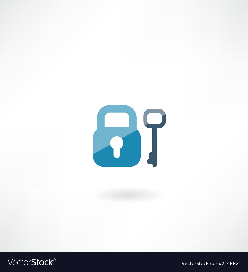 Lock with key icon vector | Price: 1 Credit (USD $1)