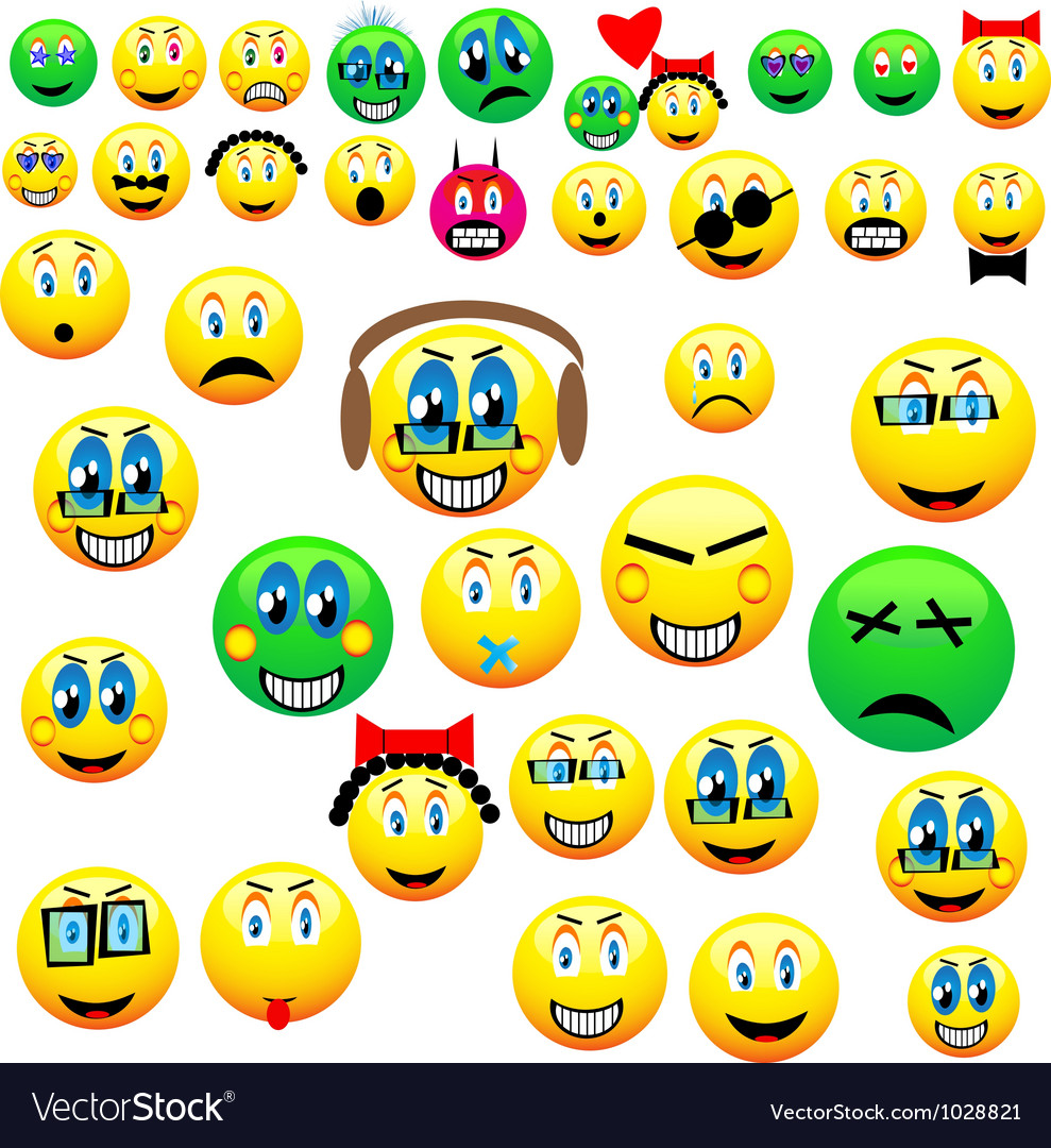 Many emoticons vector | Price: 1 Credit (USD $1)