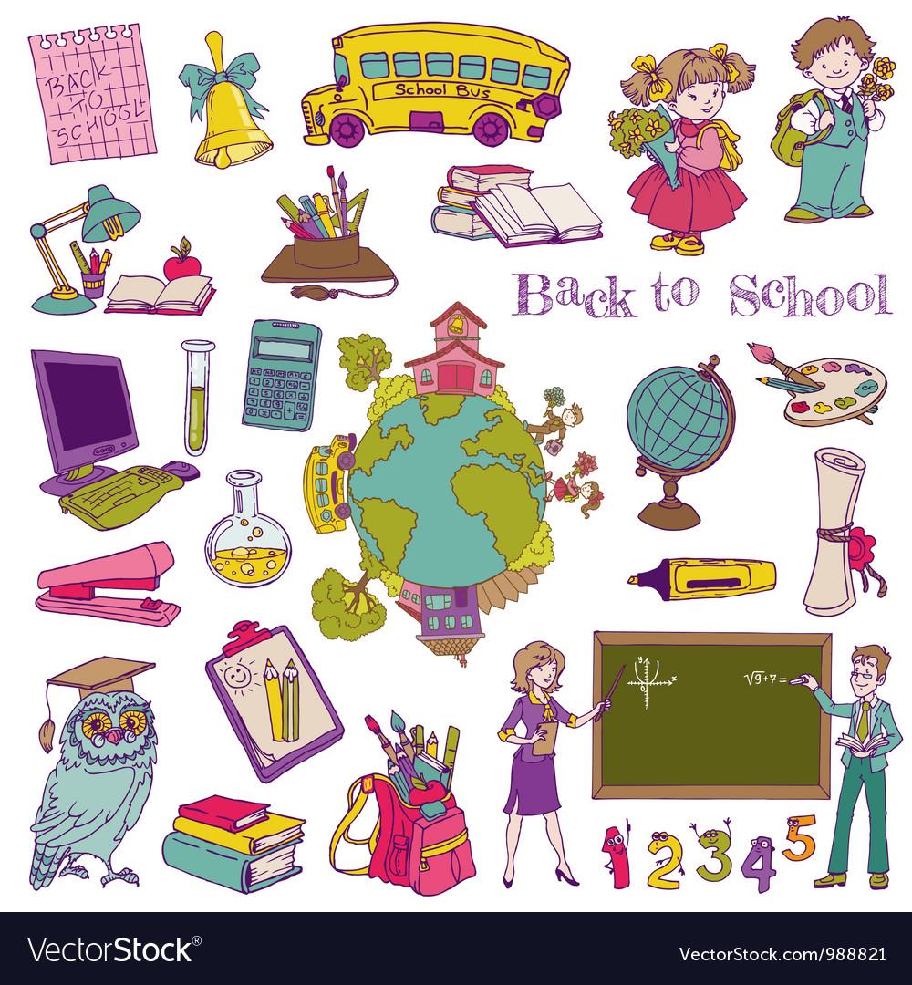 Scrapbook design elements - back to school vector | Price: 3 Credit (USD $3)
