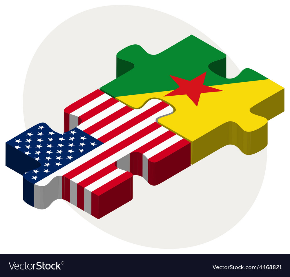 Usa and french guiana flags in puzzle vector | Price: 1 Credit (USD $1)