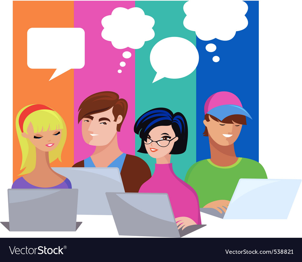 Young people with speech bubbles and computers vector | Price: 1 Credit (USD $1)