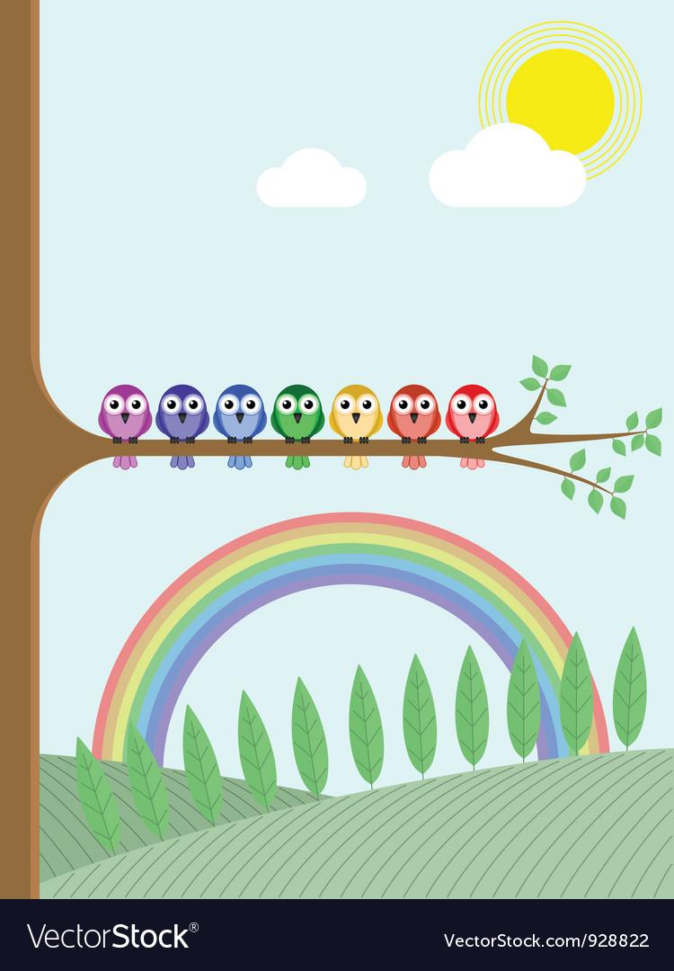 Bird tree rainbow vector | Price: 1 Credit (USD $1)