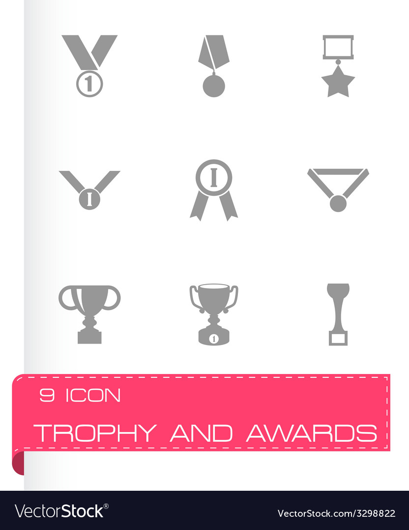 Black trophy and awards icon set vector | Price: 1 Credit (USD $1)