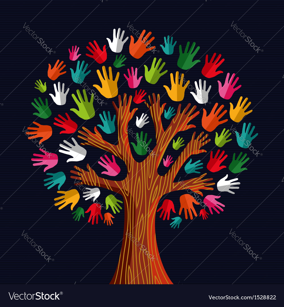 Colorful solidarity tree hands vector | Price: 1 Credit (USD $1)