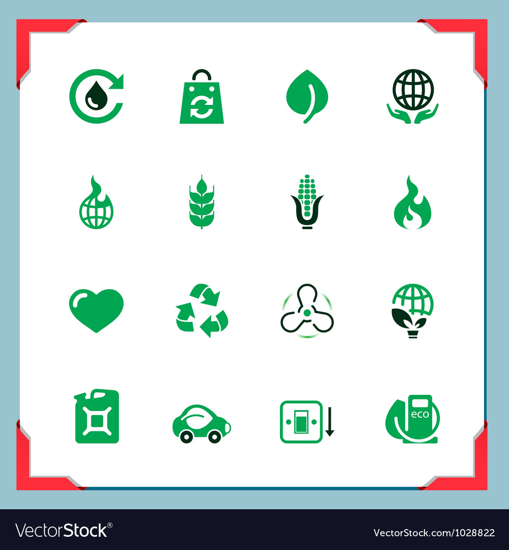Ecology icons in a frame series vector | Price: 1 Credit (USD $1)