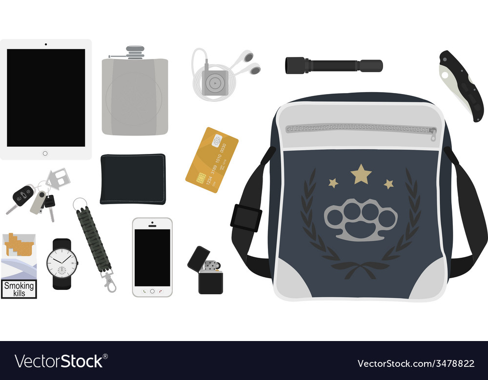 Every day carry man items set2 no outlines vector | Price: 1 Credit (USD $1)