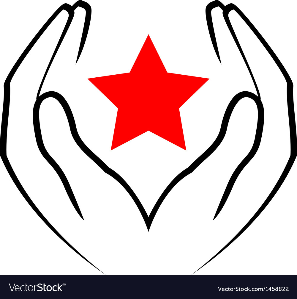 Icon - hands holding red star vector | Price: 1 Credit (USD $1)